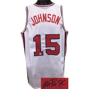 sports shoes c3c5d 4b7d4 Magic Johnson signed Team USA Olympic Dream Team White TB Custom Stitched  Basketball Jersey XL Beck