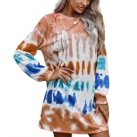 Tie Dye Round Neck Long Sleeve Casual Tunics Dress
