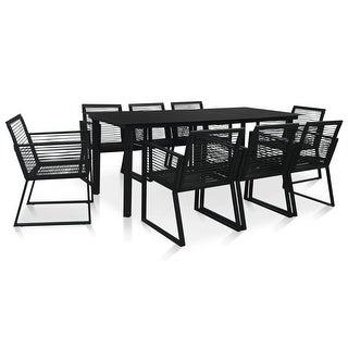 Link to vidaXL 9 Piece Outdoor Dining Set PVC Rattan Black Similar Items in Patio Furniture