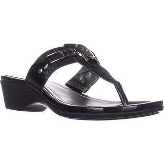 Marc Fisher Amina2 Thong Flip Flop Sandals, Black Multi