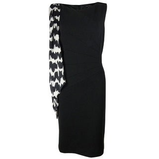 Tahari Women's Printed Satin Scarf Ponte Dress - Black/Ivory
