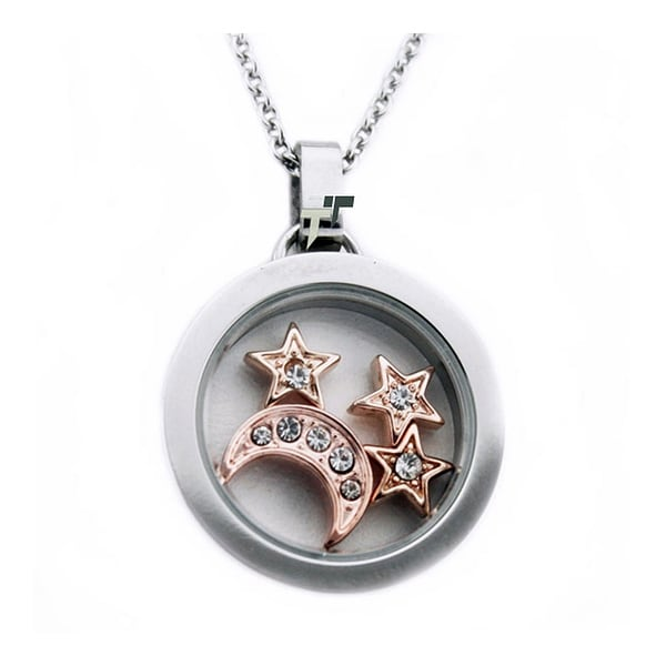 Stainless Steel Glass Pendant w/ Moon & Star - 18 inches