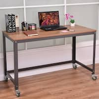 Costway Rolling Computer Desk Metal Frame PC Laptop Table Wood Top Study Workstation