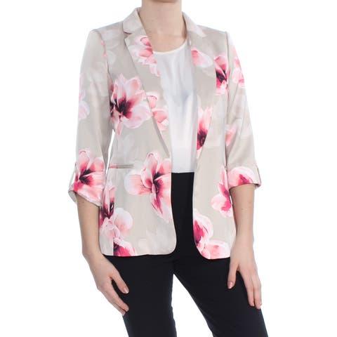 CALVIN KLEIN Womens Beige Floral Blazer Wear To Work Jacket Petites Size: 6