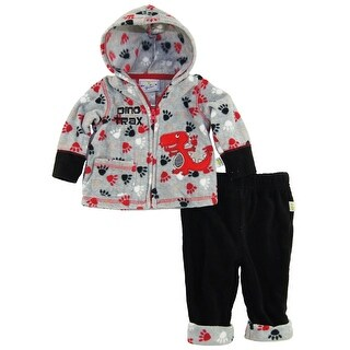 Duck Goose Baby Boys Dino Trax Print Micro Polar Fleece Hooded Jacket Pant Set