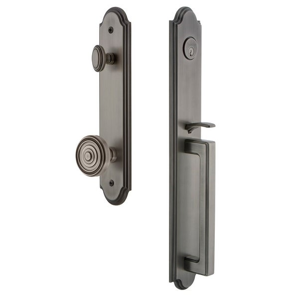 """Grandeur ARCDGRSOL_ESET_238 Arc Solid Brass Rose Keyed Entry Single Cylinder Full Plate """"D"""" Grip Handleset with Soleil Knob and"""