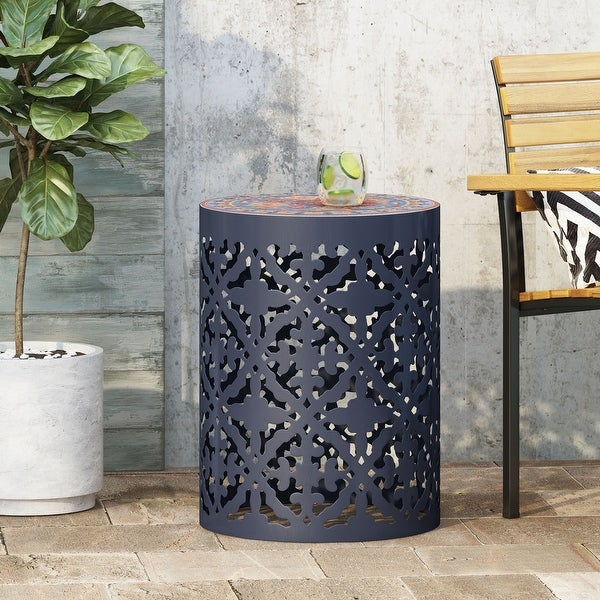 Castana Outdoor Lace Cut Side Table with Tile Top by Christopher Knight Home. Opens flyout.