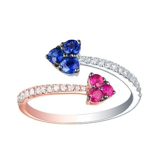 Prism Jewel 0.75CT SI2 Blue Sapphire & Pink Ruby Gemstone with G-H/I1 Natural Diamond Bypass Ring