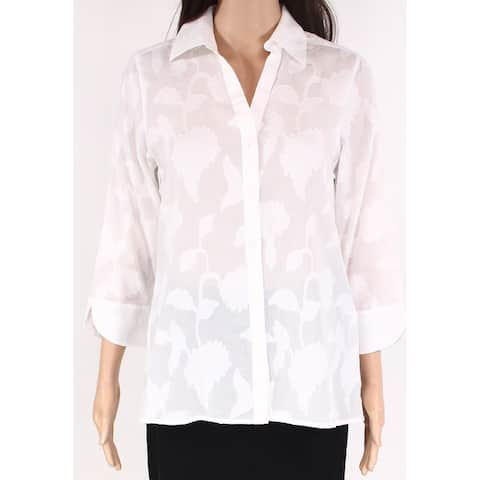 Foxcroft Women's Button Down Shirt White Size 4 Floral Embroidered