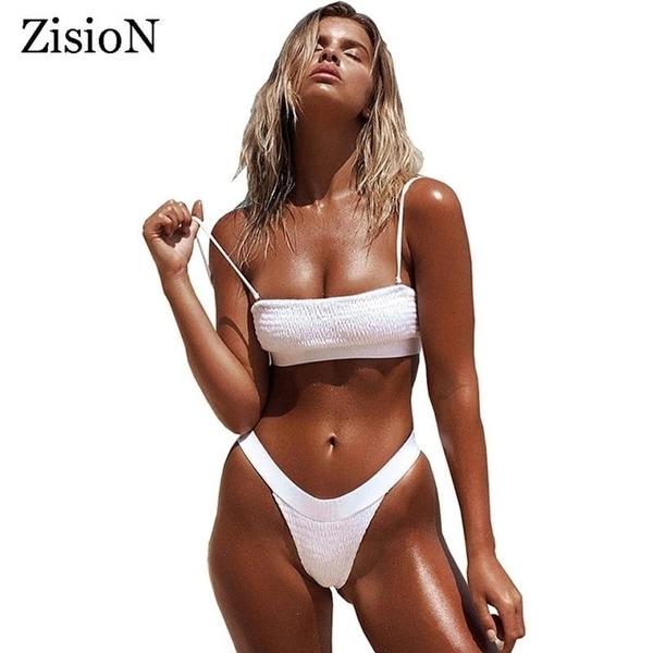 538fd0360f ZisioN 2018 Sexy Bikini Set Women Swimsuit Swimwear Crinkle Beach Bathing  Suit Thong Bikinis Brazilian Swimming