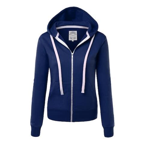 Made By Johnny Women's Casual Zip-up Hoodie Long Sleeve Sweatshirt