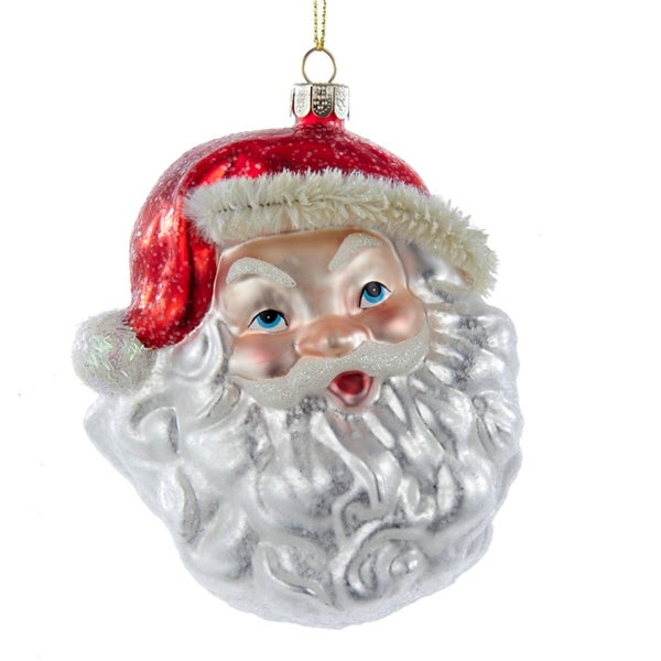 """4.5"""" Noble Gems Glittered Santa Claus Head Decorative Glass Christmas Ornament - RED"""