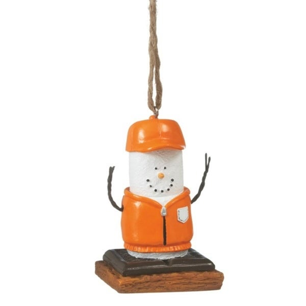 "3"" S'mores Marshmallow in Orange Hunting Gear Chocolate Sandwich Christmas Ornament"