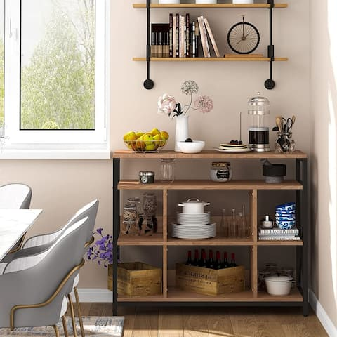 Buffet Cabinet, Sideboard for Living Room Kitchen, Dining Server with Open Shelves, 43 inches Accent Cabinet