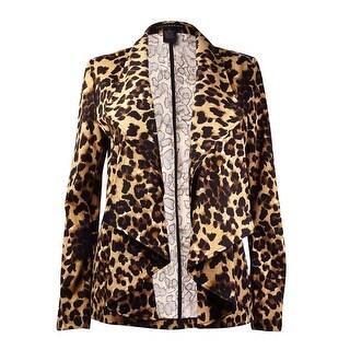 Grace Elements Women's Leopard Ruffled Shawl Ponte Blazer - S