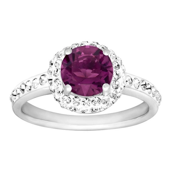 Crystaluxe February Ring with Purple Swarovski Elements Crystals in Sterling Silver