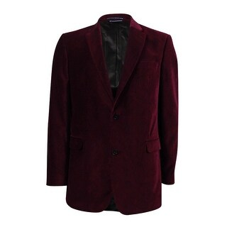Tommy Hilfiger Men's Paisley Velvet Classic-Fit Sport Coat (42L, Burgundy) - burgundy - 42l