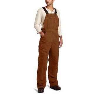 Carhartt Mens Quilt Lined Sandstone Bib Overall, Brown, 44X32