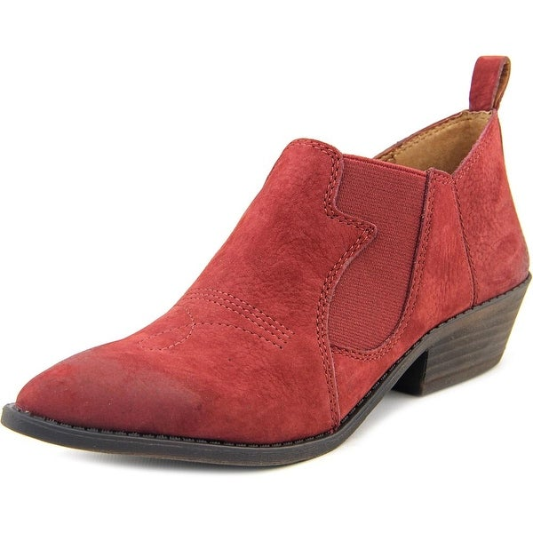 Lucky Brand Joelle Women Pointed Toe Leather Burgundy Bootie