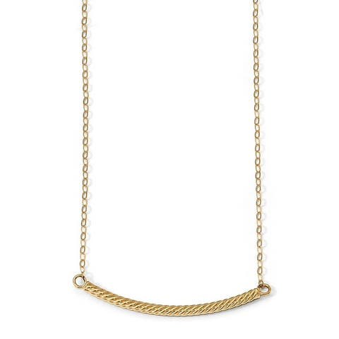 """Curata 14k Italian Yellow Gold Polished Textured Curved Bar Necklace (2.5mm x 45mm), 18"""""""