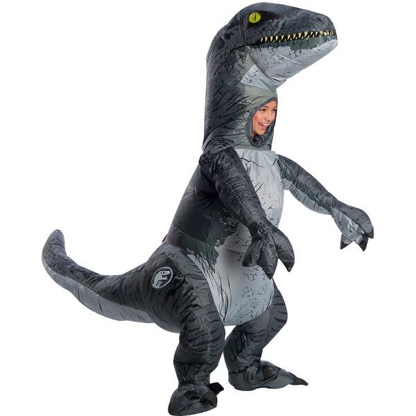 Child Jurassic World Inflatable Velociraptor Blue Costume with Sound -  Standard