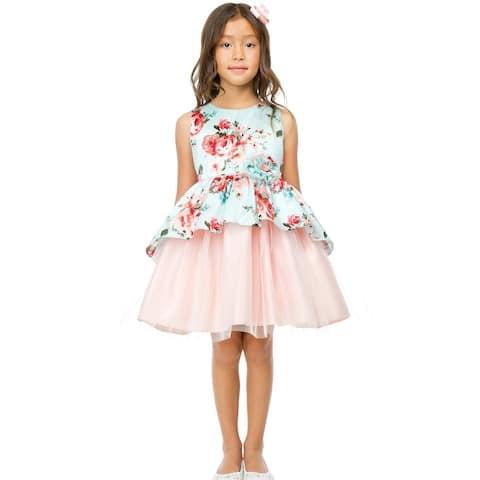 Sweet Kids Little Girls Mint Floral Print Peplum Tulle Easter Dress