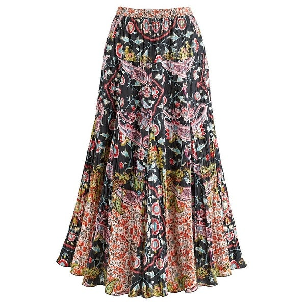 "Women's Pattern Play Maxi Skirt - Crinkle Fabric - 36"" Mid Calf Long"