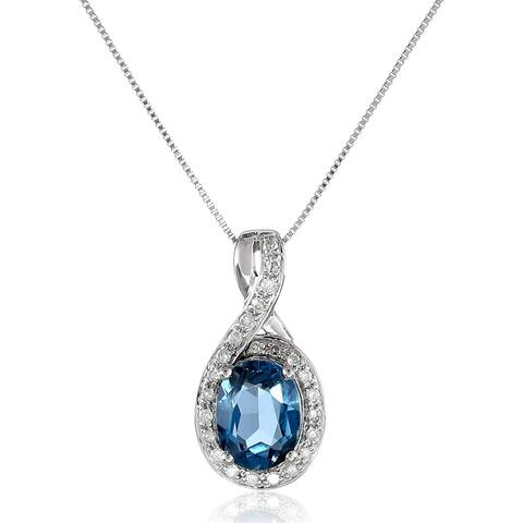 """Natural Stone & 1/10 ct Diamond Oval Pendant in 14K Gold, (.10 ct, H-I Color, I2-I3 Clarity), 18"""" - Blue"""