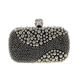 Alexander McQueen Womens Skull Leather Studded Evening Clutch - Black - Small