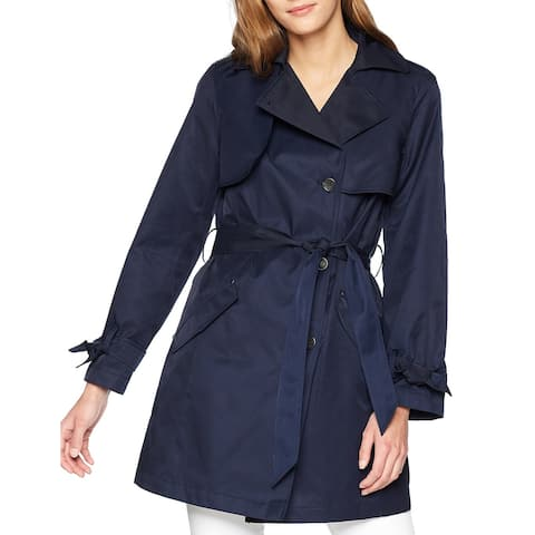 Jones York Womens Coat Classic Blue Size Large L Belted Trench