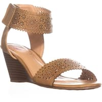 XOXO Sallie Perforated Wedge Sandals, Tan