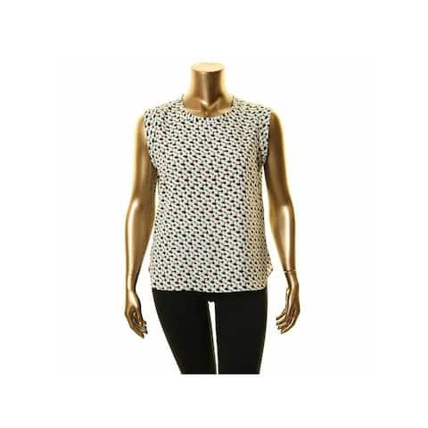 DKNY Womens Ivory Printed Sleeveless Jewel Neck Top Size L