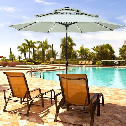 Ainfox Patio Umbrella 10ft 3 Tiers Without Base with Lights Crank &Tilt