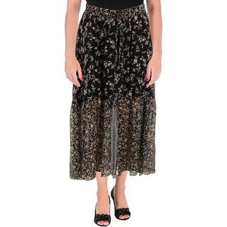 Lauren Ralph Lauren Womens Peasant, Boho Skirt Floral Print Two-Tiered
