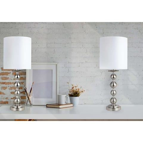23.5-inch Brushed Nickel Candlestick Table Lamps (Set of 2)
