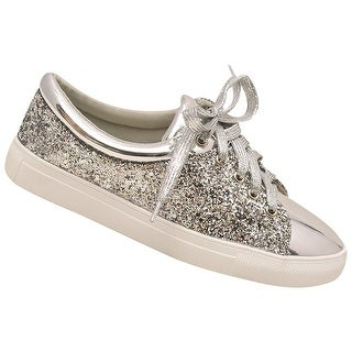 Adult Silver Texture Shimmer Lace-Up Closure Sneaker Casual Shoes