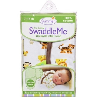 Summer Infant SwaddleMe Adjustable Infant Wrap - Small/Medium 7 - 14 lbs - Jungle White Clothing and Accessories