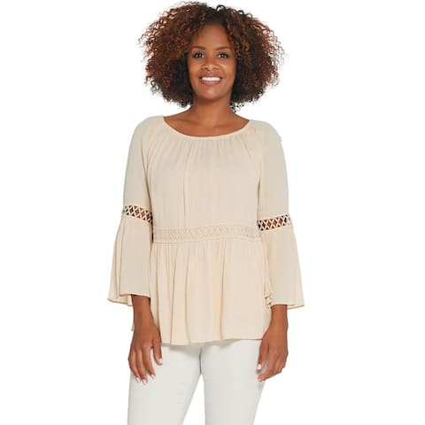 Du Jour Womens Crinkle Gauze Bell Sleeve Top with Lace Inset 1X Cream A308951