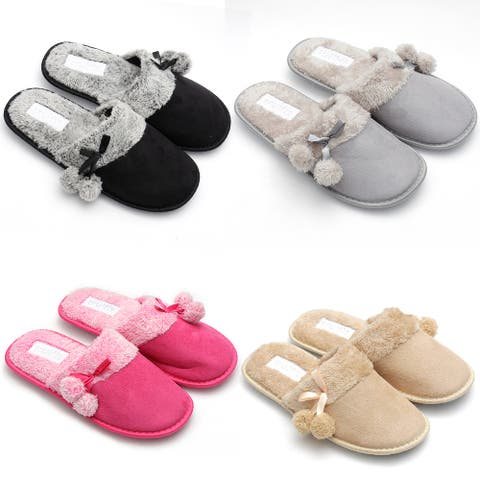 Womens Slippers Slip On Cozy Indoor Soft House Comfortable Plush Shoes