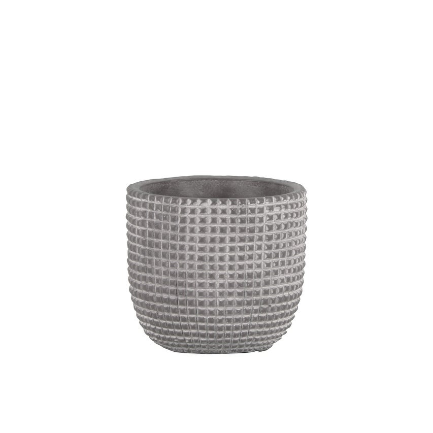 Cement Engraved Square Lattice Design Pot With Tapered Bottom, Small, Light Gray