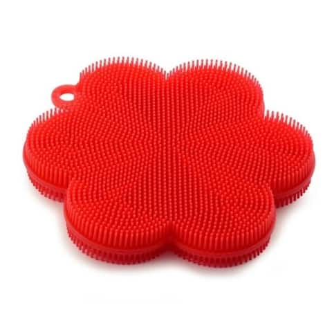Norpro Red Flower-Shaped Silicone Dish Brush Scrubber