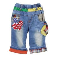 Rock'nStyle Baby Boys Blue American Flag Applique Details Denim Shorts