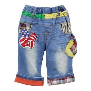 Rock'nStyle Baby Boys Blue American Flag Applique Details Denim Shorts