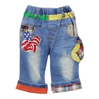 Rock'nStyle Boys Blue American Flag Appliques Denim Shorts