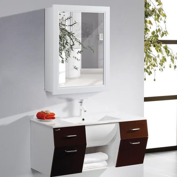 Shop Gymax Bathroom Mirror Cabinet Wall Mounted Kitchen Medicine Storage On Sale Overstock 24206932