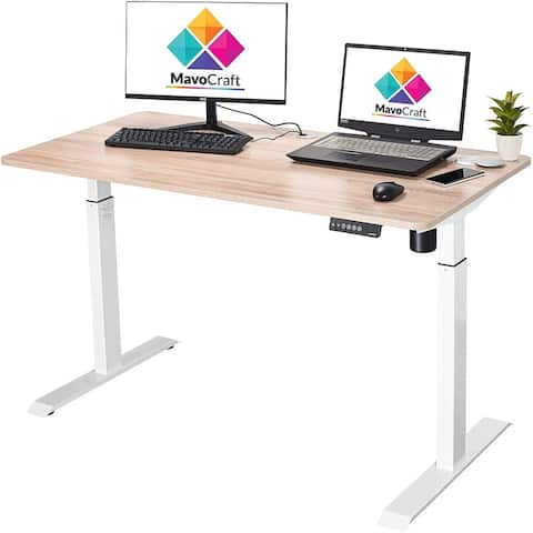 55-Inch Electric Height Adjustable Sit and Stand Desk - Adjustable Desks for Home Office and Study Area
