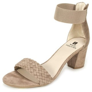 White Mountain Womens Eryn Fabric Open Toe Ankle Wrap Classic Pumps