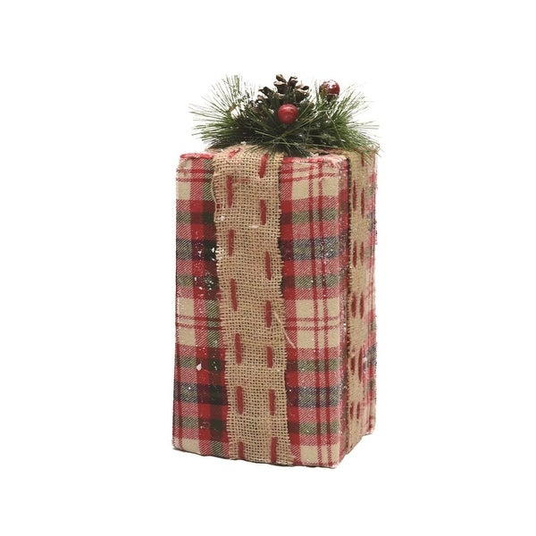 """10"""" Rectangular Red Plaid Gift Box with Pine Bow Table Top Christmas Accent"""