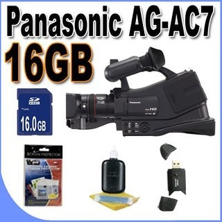 Panasonic AG-AC7 Shoulder Mount AVCHD Camcorder W/16GB SDHC Memory + USB Card Reader + Accessory Saver Bundle!