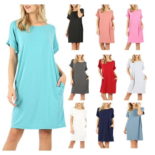 NioBe Clothing Womens Rolled Short Sleeve Tunic Shirt Dress. Opens flyout.